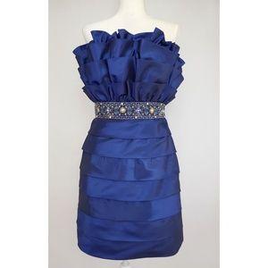 Tony Bowls Royal Blue Strapless Prom Dress 10